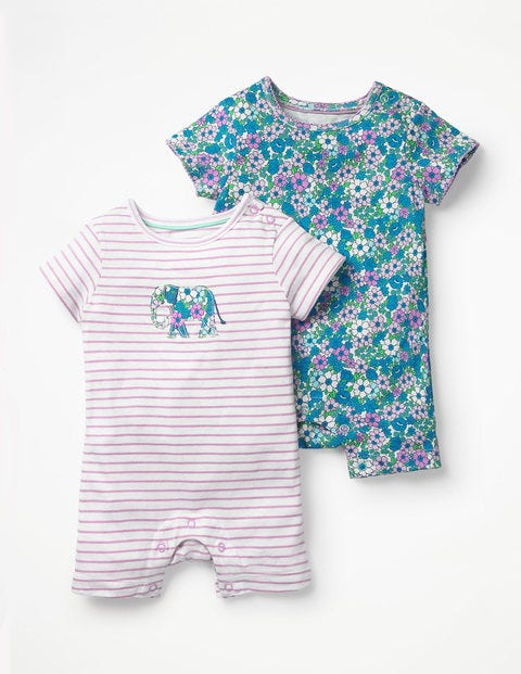 Twin Pack Floral Rompers - Lilac Pink Forget-Me-Not