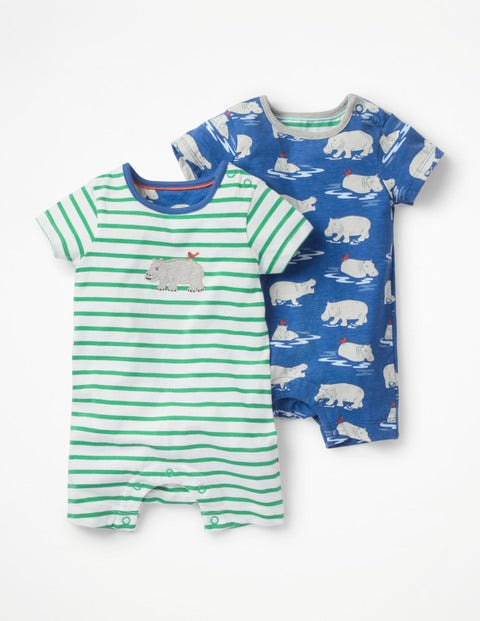Twin Pack Hippo Rompers - Duke Baby Hippos