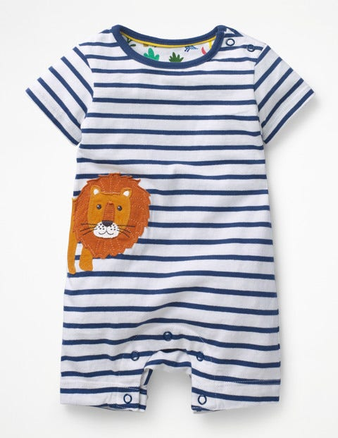 Animal Jersey Romper - White/Lagoon Blue Lion