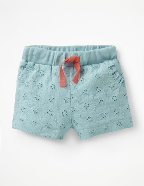 Woven Broderie Shorts - Mineral Blue