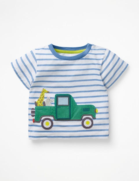 Animal Adventures T-Shirt - White/Elizabethan Blue Truck