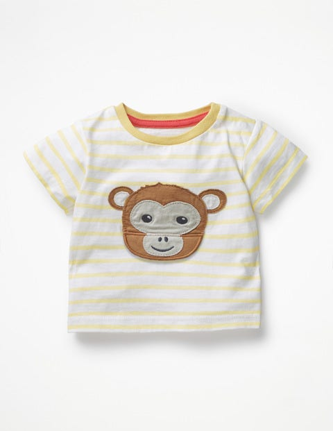 Animal Adventures T-Shirt - White/Sweetcorn Yellow Monkey