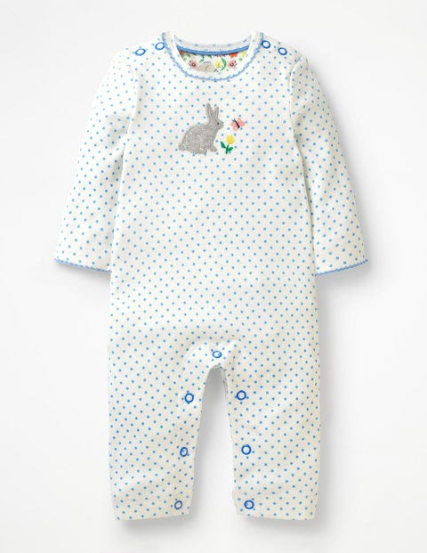 Bunnies Appliqué Romper - Ivory/Light Sky Blue Pin Spot