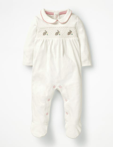 Smocked Bunnies Sleepsuit - Ivory Bunnies