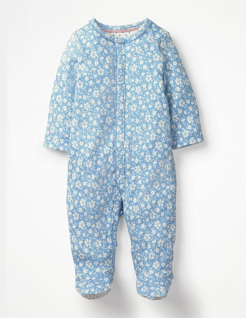 Pretty Printed Sleepsuit - Light Sky Blue Vintage Floral