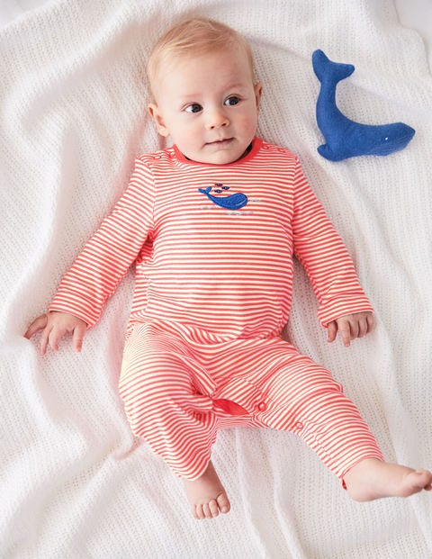 Whales Appliqué Romper - Ivory/Jam Red Whale