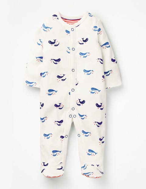Cosy Printed Sleepsuit - Ivory Baby Whales