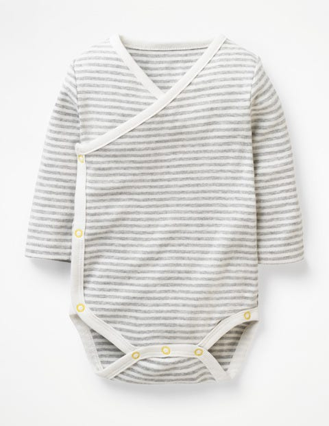 Stripy Wrap Body - Ivory/Grey Marl Stripe