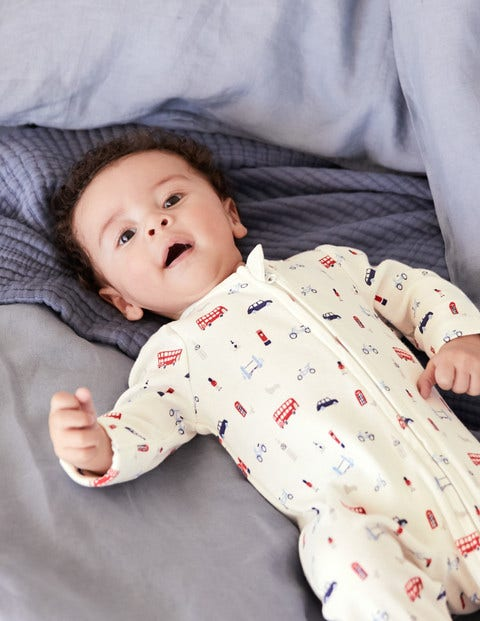 Printed Zip-Up Sleepsuit - Ecru Little London