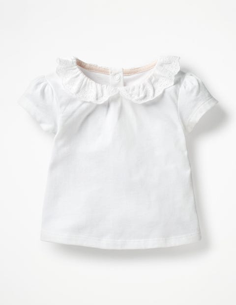 Broderie Collar T-Shirt - White