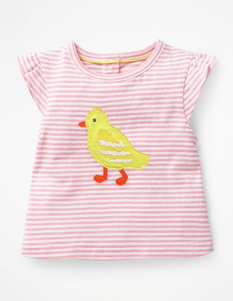 Summer Appliqué T-Shirt - White/Shell Pink Chick