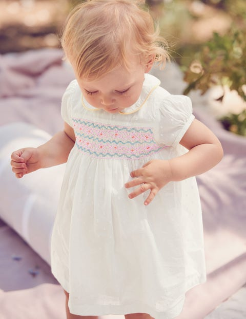 80b99a14d3d3 Nostalgic Smocked Dress - Ivory | Boden US