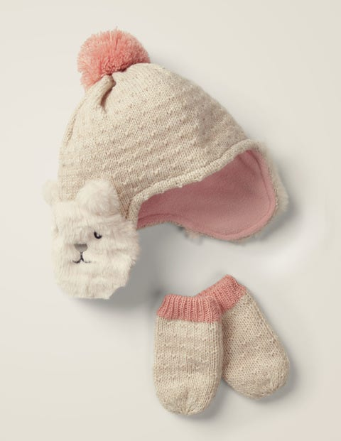 Cosy Knitted Hat & Mittens Set - Ecru Marl