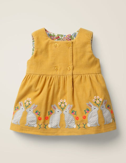 Animal Appliqué Dress - Mellow Yellow Bunnies
