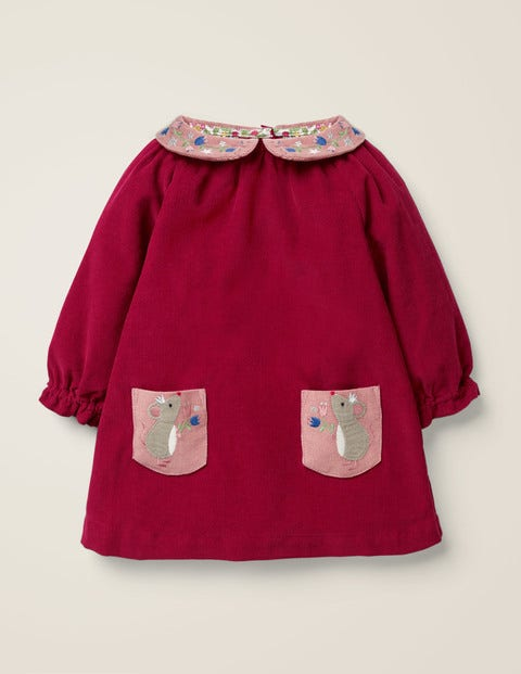 Embroidered Collar Dress - Bramble Red Mice