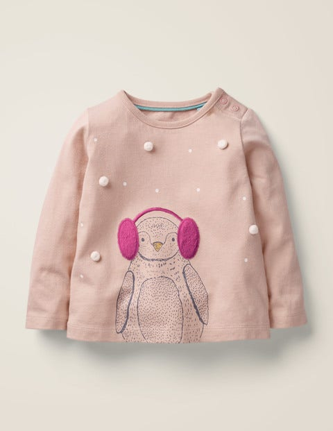 Winter Animal T-Shirt - Provence Dusty Pink Penguin