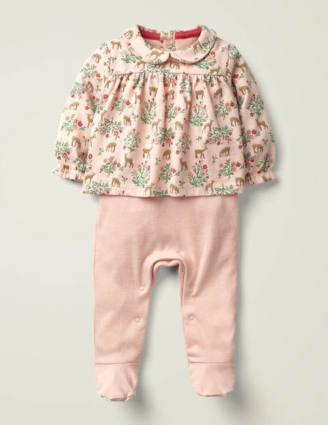 Two-In-One Printed Romper - Provence Pink Floral Fawn