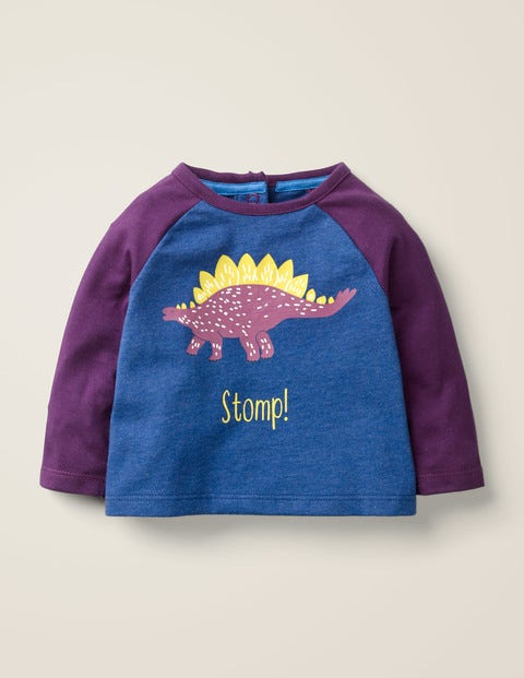 Printed Dinosaur T-Shirt - Starboard Marl Stegosaurus