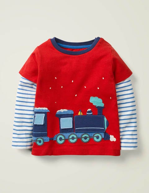 Festive Appliqué T-Shirt - Rockabilly Red Polar Express