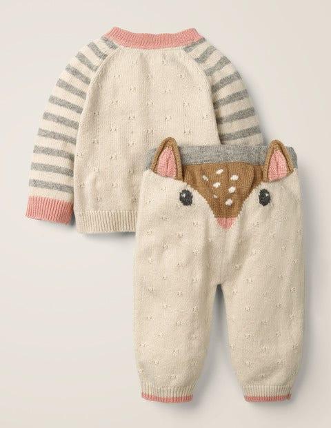 Novelty Knitted Play Set - Ecru Marl Deer