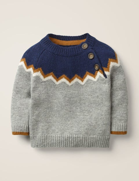 Chevron Yoke Jumper - Grey Marl Fairisle