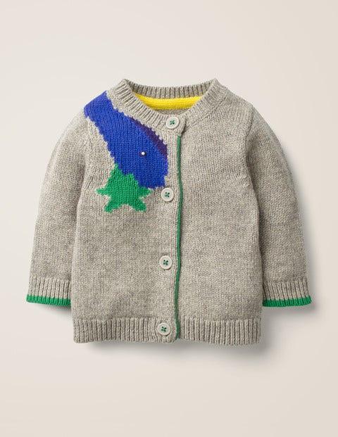 Novelty Cardigan - Grey Marl Dinosaur