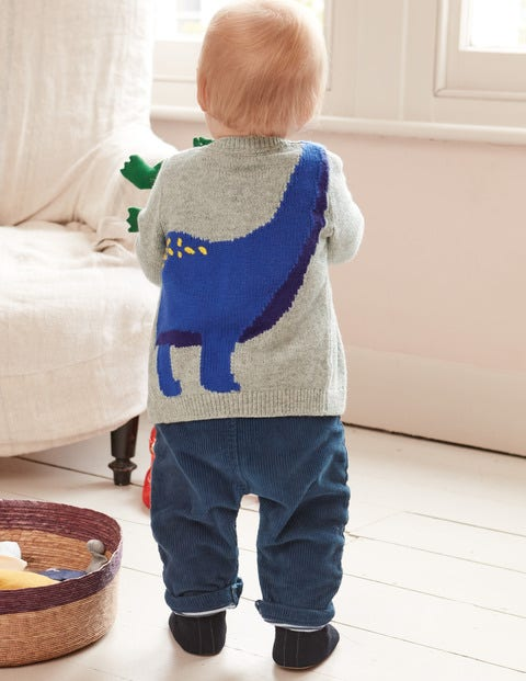 Novelty Cardigan - Grey Marl Dinosaur