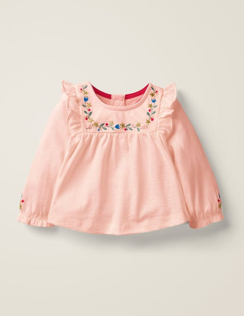 Jersey Ruffle Tshirt - Pink Embroidery