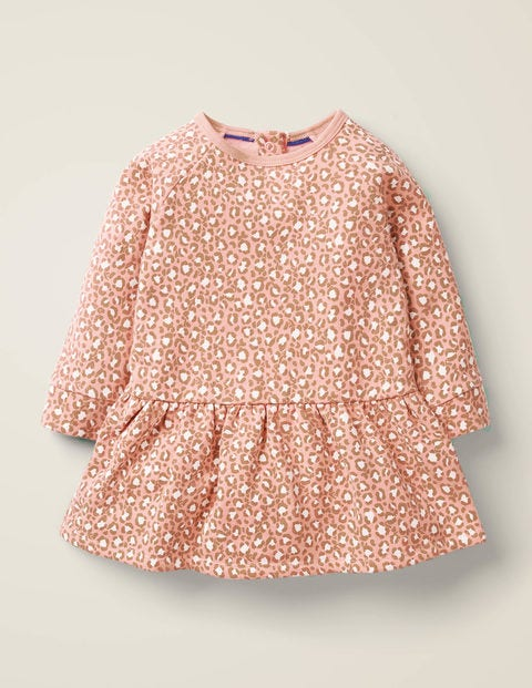 Printed Cosy Dress - Chalky Pink Mini Leopard