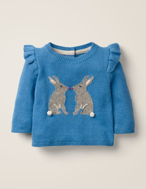 Frill Knitted Sweater - Elizabethan Blue Bunny