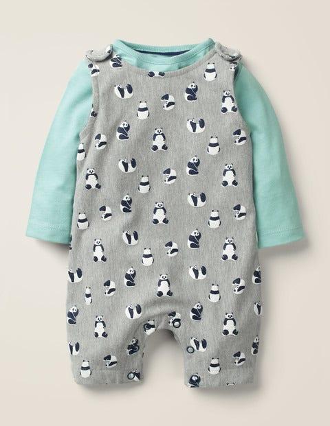 Panda Overall Set - Cloudburst Blue Baby Pandas