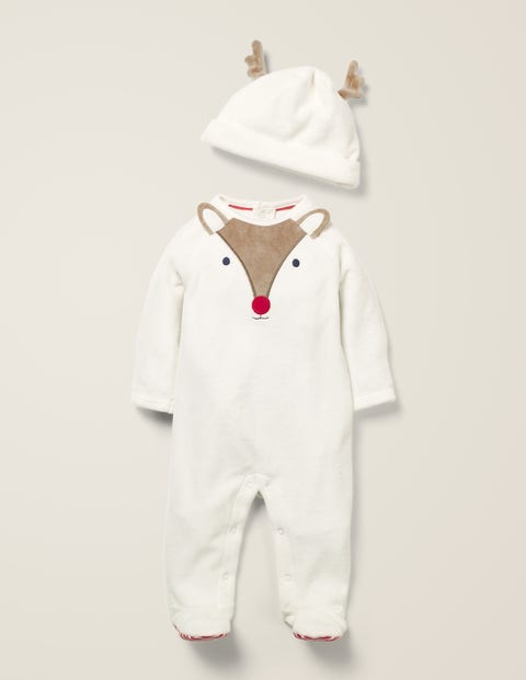 Velour Sleepsuit And Hat Set - Ivory/Provence Pink Deer