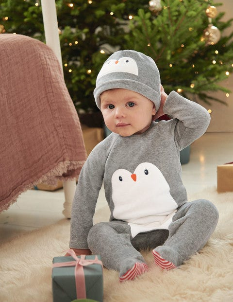 Velour Sleepsuit And Hat Set - Shale Grey Penguin