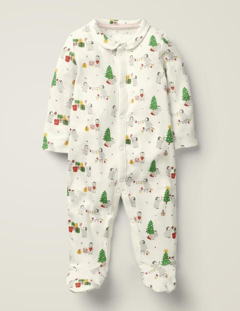 Festive Collared Sleepsuit - Ivory Festive Penguin