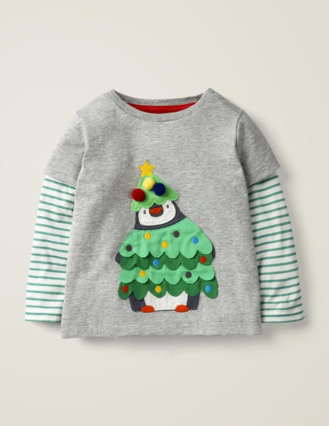 Festive Appliqué T-Shirt - Grey Marl Penguin Tree