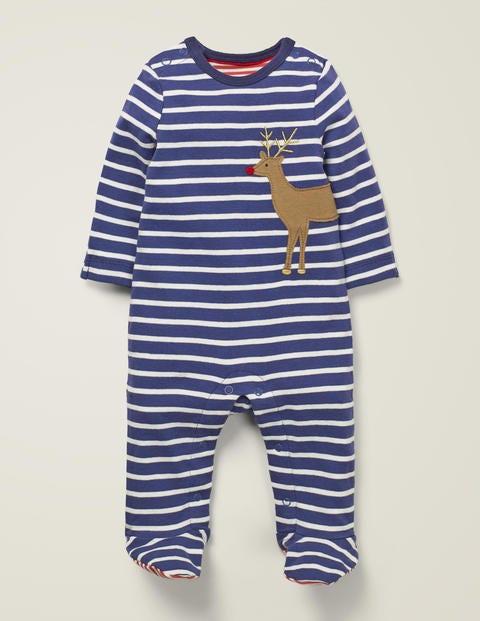 Cosy Appliqué Sleepsuit - Starboard Blue/Ivory Reindeer