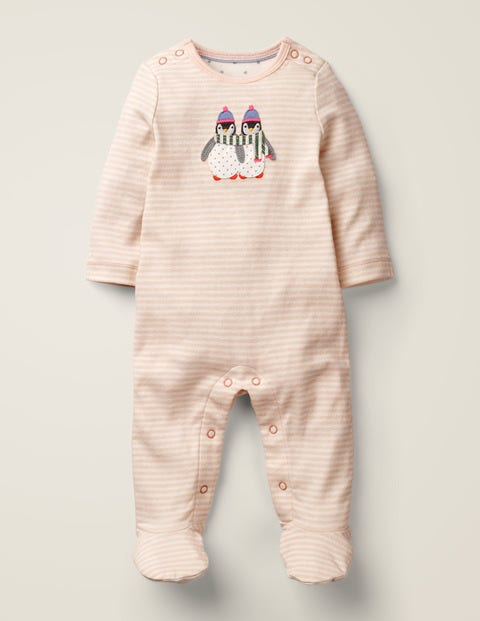 Cosy Appliqué Sleepsuit - Ivory/Provence Pink Penguin