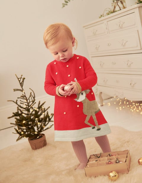 Cosy Festive Knitted Dress - Poppadew Red Deer