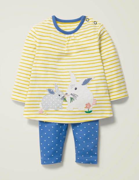 Appliqué Jersey Dress Set - Ivory/Sky Blue Bunny