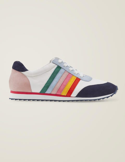 Striped Sneakers - White and Rainbow