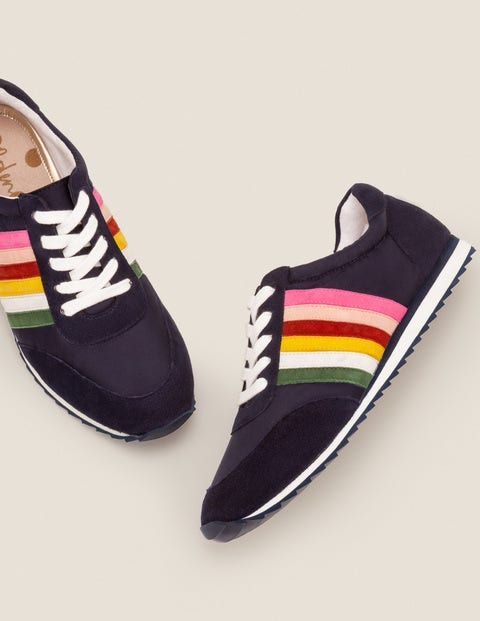 Striped Sneakers - Navy and Rainbow