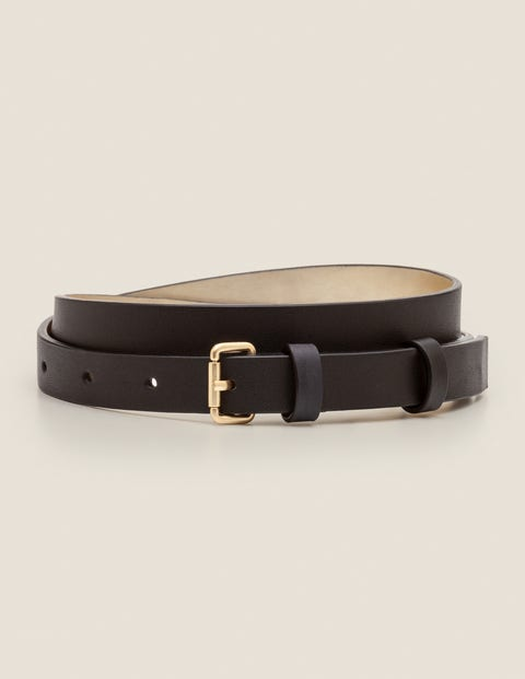 Skinny Buckle Belt - Black