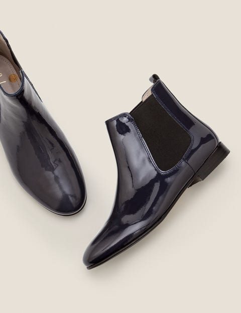 Leaton Chelsea Boots - Navy Patent