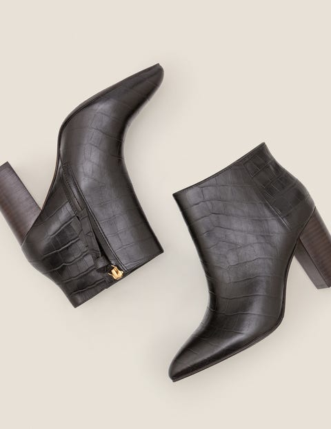 Langley Ankle Boots - Black Croc