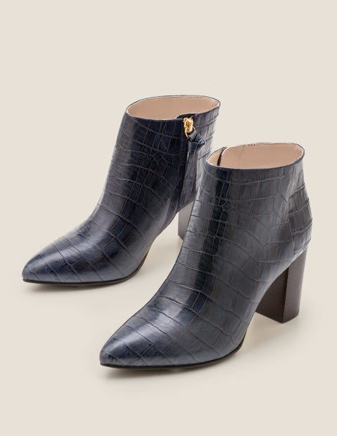 Langley Ankle Boots - Navy Croc