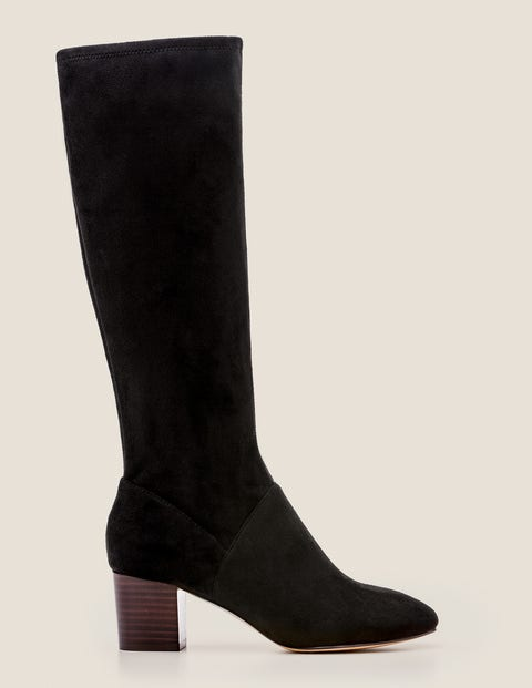 Round Toe Stretch Boots - Black | Boden US
