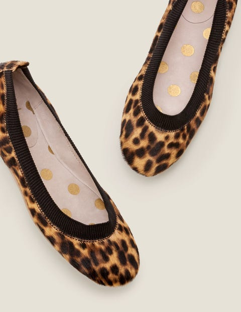 Hettie Flexi Ballerinas - Tan Leopard/Black