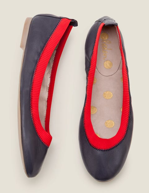 Hettie Flexi Ballerinas - Navy/Post Box Red