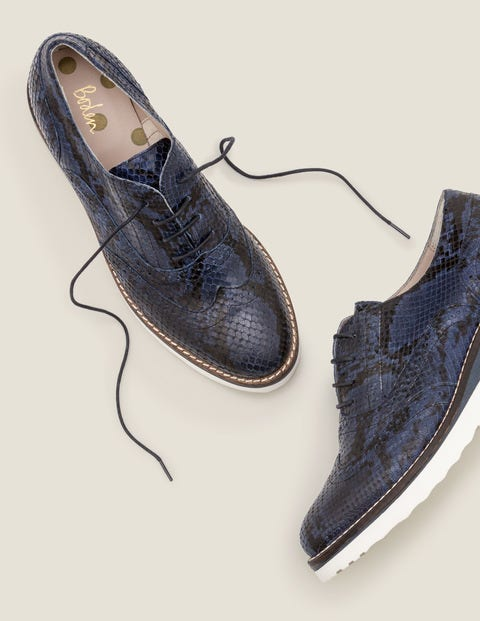 Willa Platform Brogues - Navy Snake