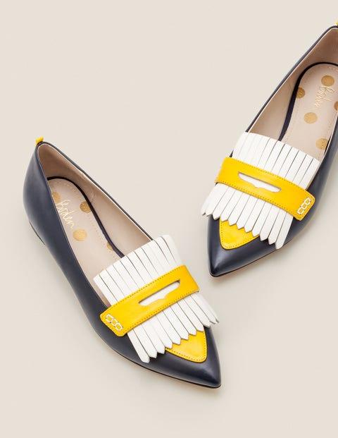 Bea Flache Schuhe mit Fransen - Navy/Safrangelb